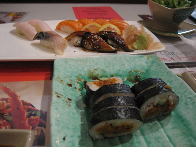 Sansei sushi spicy tuna roll mackerel yellowtail and s for Yellowtail fish sushi