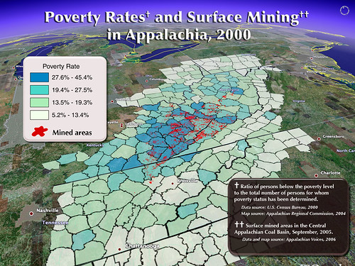 Correlation between surface mining and poverty in Appalachia