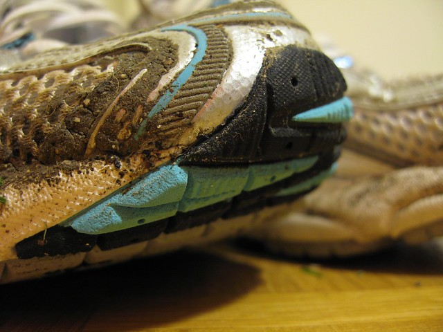 close up of my running shoes