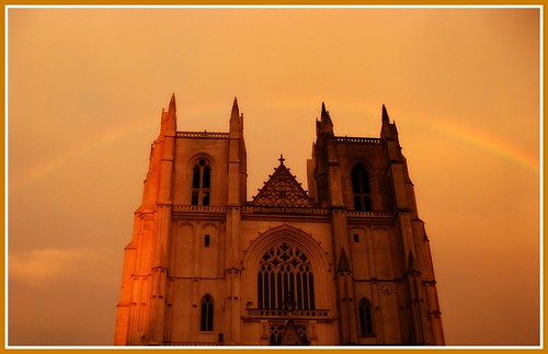 sunset sky france church rainbow tramonto cathedral chiesa cielo tours francia arcobaleno eglise arcenciel cattedrale melonlimon79