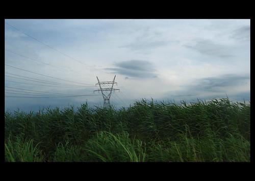 sky holland green landscape pylon electricity polder