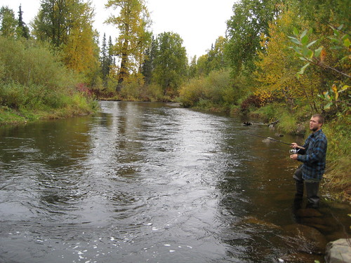 Tim fishing near Trapper Creek