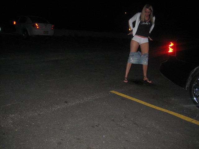 Peeing in the parking lot