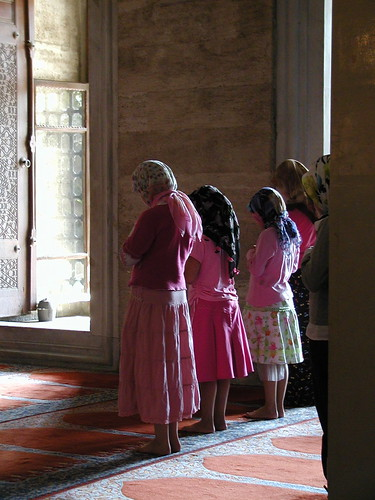 Girls learning to pray, Istanbul
