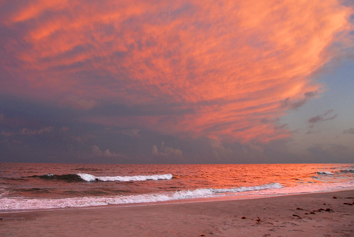 ocean park sunset sky beach waves state south huntington atlantic carolina