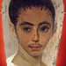 Mummy portrait of youth with a surgical cut in the right eye Egypt 190-210 CE Encaustic on limewood