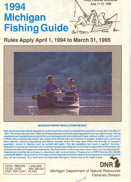 1994 michigan fishing license guide 1994 michigan for Fishing license mi