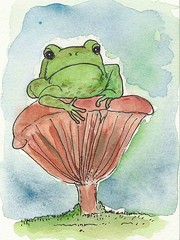 Frog sitting on mushroom by Emilyannamarie