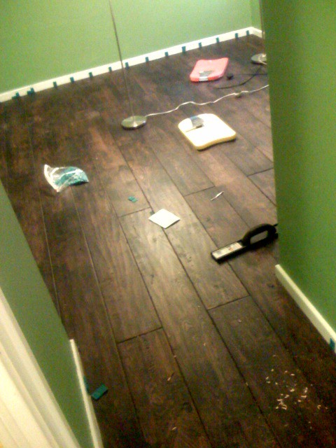 Handscraped Hardwood Flooring Gray Brown Kitchen