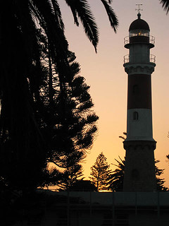Image of Swakopmund Lighthouse near Swakopmund. sunset lighthouse namibia swapkopmund