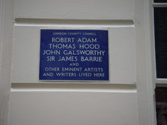 Photo of Robert Adam, James M. Barrie, John Galsworthy, and Thomas Hood blue plaque