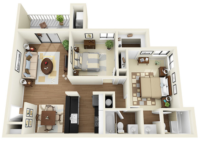 2bed 2bath 3d floor plan flickr photo sharing - Modernbedroombathroom house plans ...