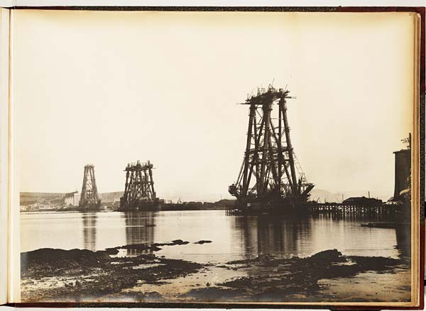 Forth Bridge construction: General view taken late in the evening