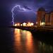 Lightning Strikes Pier by Time Grabber