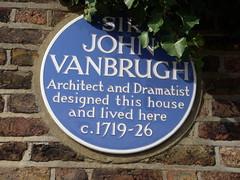 Photo of John Vanbrugh blue plaque