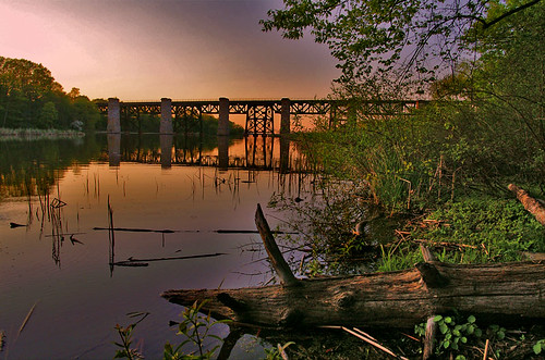 bridge sunset 15fav ontario canada tree water train landscape harbor log harbour niagara jordan jordanstation jordanharbour