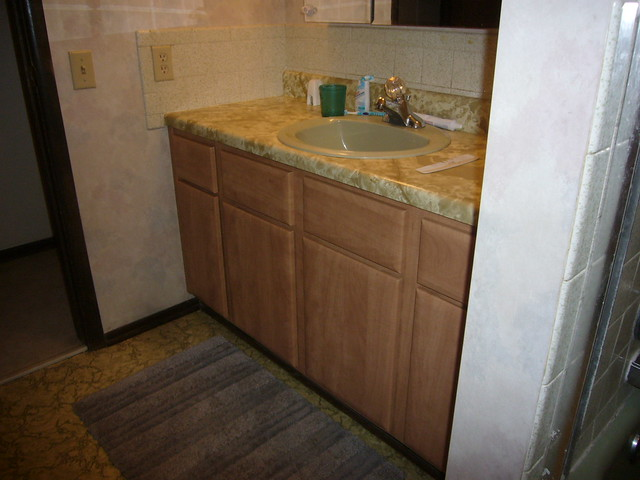 bathroom cabinets after refacing flickr photo
