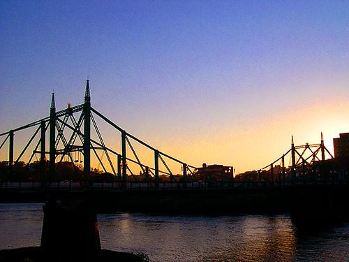 city bridge sunset urban skyline twilight dusk pennsylvania pa lehighvalley delawareriver eastonpa freebridge northamptoncounty northamptonstbridge old22