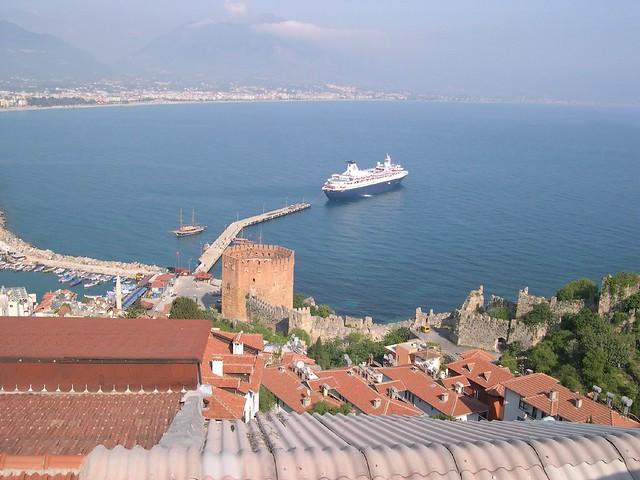 The Cruise Ship Dream Princess Anchored In Alanya