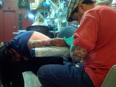mark harada at mcdougal tattoo on sullivan st nyc.