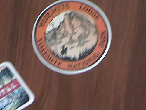 Yosemite Lodge, Dapper Dans, Deagan Organ Chimes Case, detail, Travel Stickers, Main Street, Disneyland®, Anaheim, California, 2007:07:04 17:50