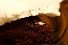 vegan coconut ice cream on a chocolate brownie    MG…