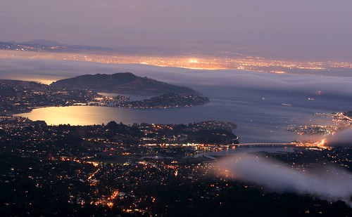california ca city longexposure urban usa moon mist reflection fog night america lights evening bay view metro dusk scenic mttam marincounty sanfranciscobay sfbay mttamalpais flickrsbest abigfave aplusphoto