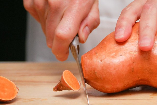 cutting sweet potato