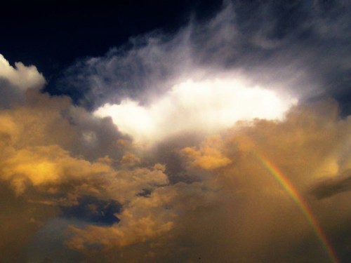 Contrasting clouds with rainbow© by Confused Shooter