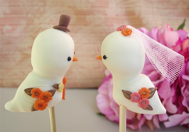 Fall Birdies wedding cake