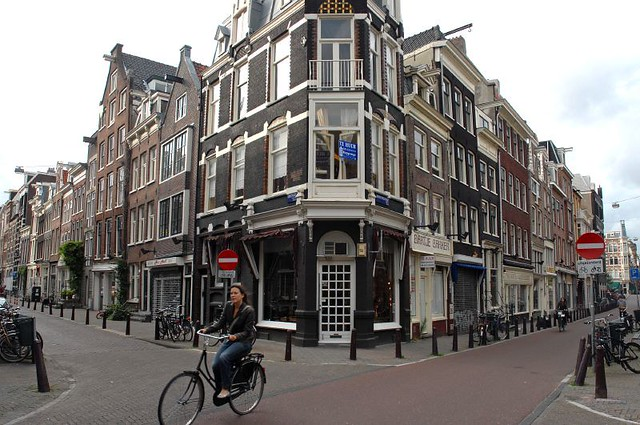 Biking in the Nieuwe Spiegelstraat - Amsterdam