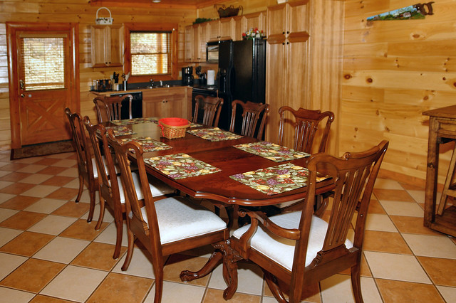 Extended custom made dining table in this large pigeon for Dining near gatlinburg tn