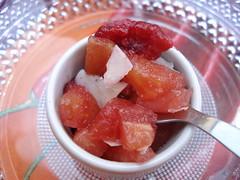 breakfast(0.0), strawberries(0.0), strawberry(0.0), plant(0.0), produce(0.0), granita(0.0), watermelon(1.0), food(1.0), dish(1.0), dessert(1.0), sorbet(1.0), cuisine(1.0),