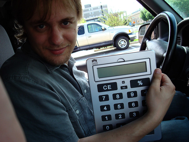 I vill model dees giant calculat-or for you all sexy-like