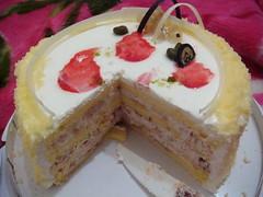 bavarian cream(0.0), produce(0.0), cheesecake(0.0), torte(0.0), cake(1.0), semifreddo(1.0), buttercream(1.0), cassata(1.0), baked goods(1.0), fruit cake(1.0), food(1.0), icing(1.0), dish(1.0), dessert(1.0), cuisine(1.0), mascarpone(1.0),