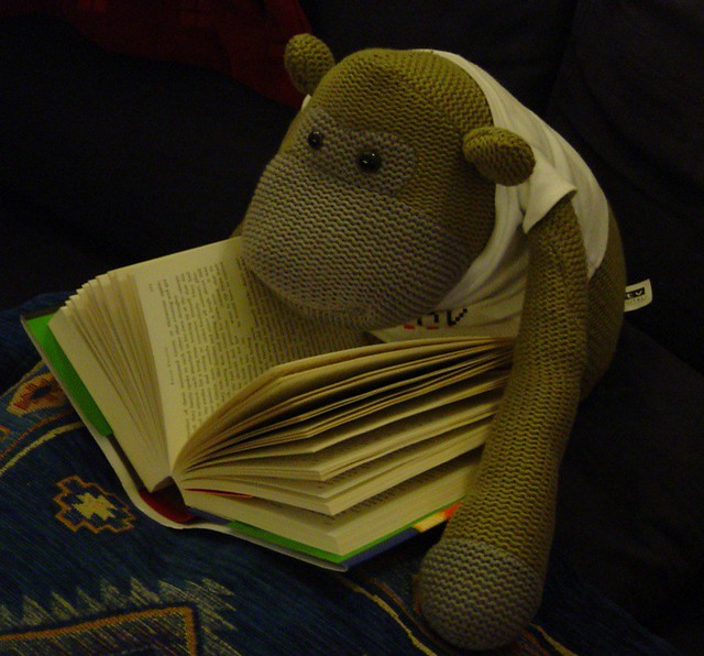 Monkey reading Buffalo Bird Woman's Garden