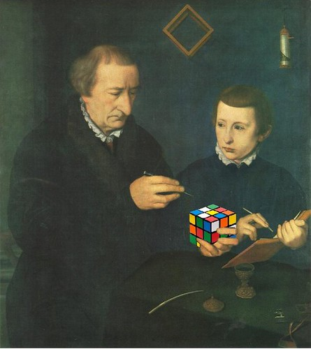 Portrait of Johannes Neudörfer, His Son, and Their Rubik's Cube, after Nicolas Neufchâtel