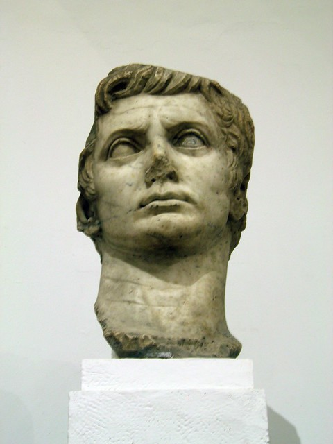 Colossal head sculpture of Augustus, Archaeological Museum, Seville