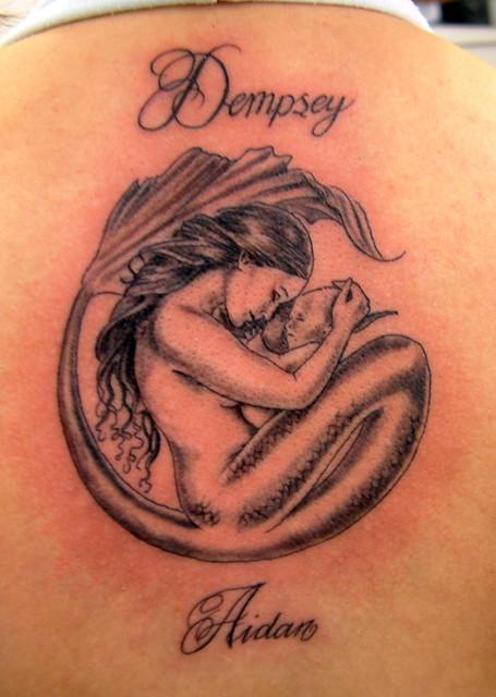 grey mermaid and baby Tattoo