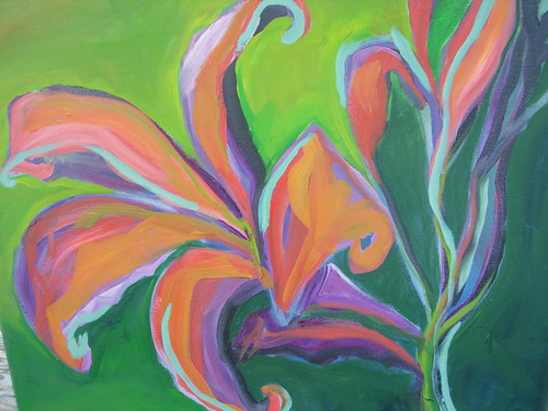 asian lily oil painting