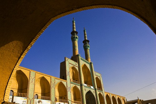 architecture asia iran minaret islam religion middleeast mosque spire continent viewfrombelow persiangulfstates yazdprovince