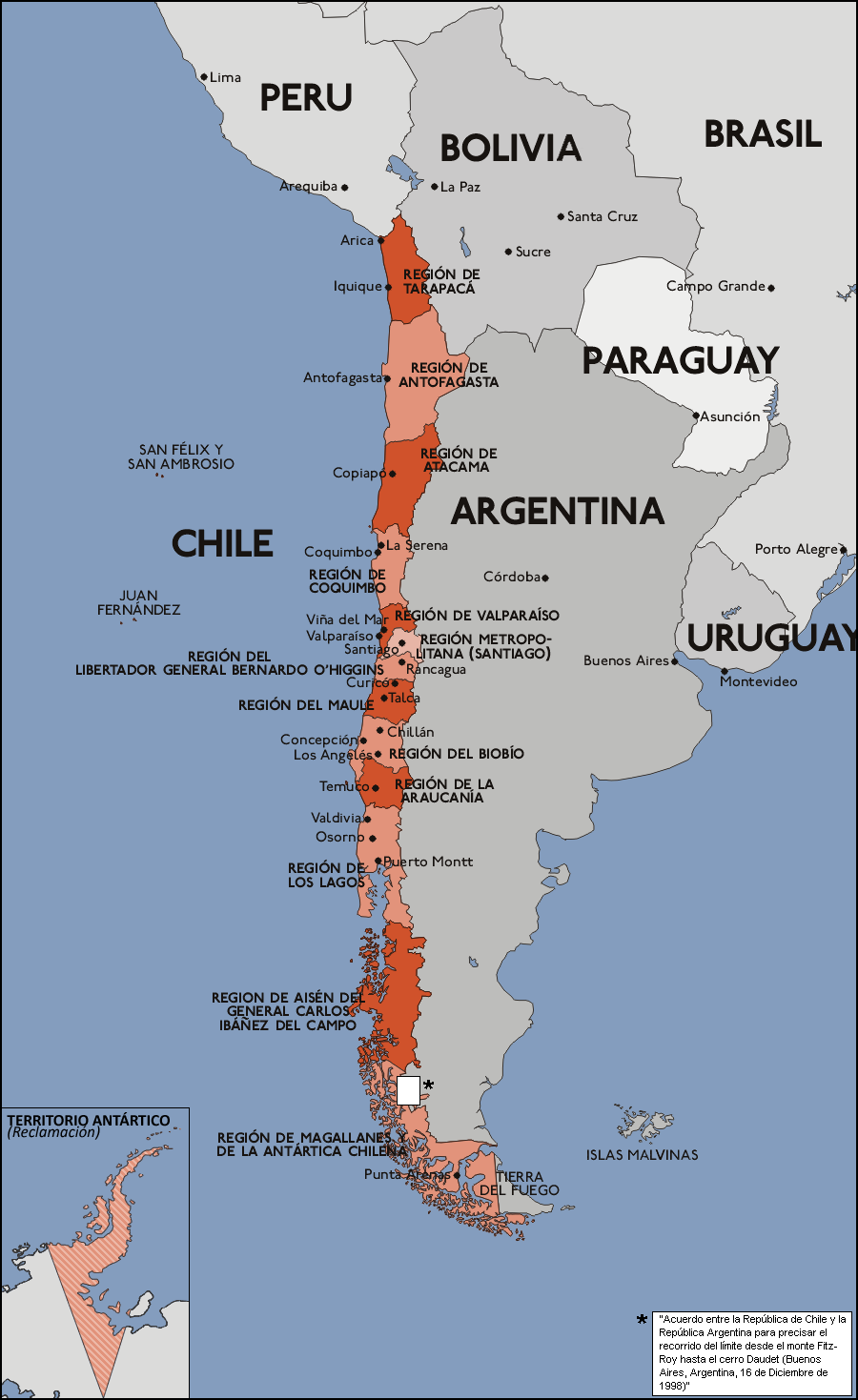 Chile Map With Regions Chile Regions Map