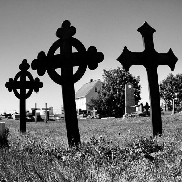 Crosses in Akranes graveyard