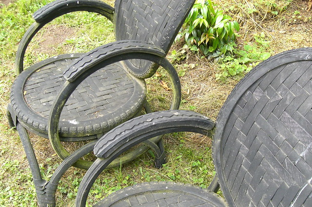 Chairs made out of recycled tyres