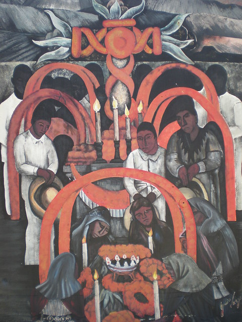 Diego rivera 39 d a de muertos 39 mexican mural kansas city for Diego rivera dia mural