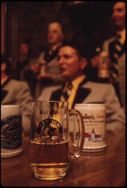 Beer Is Part of the Tradition as the Concord Singers Practice Singing German Songs in New Ulm, Minnesota...
