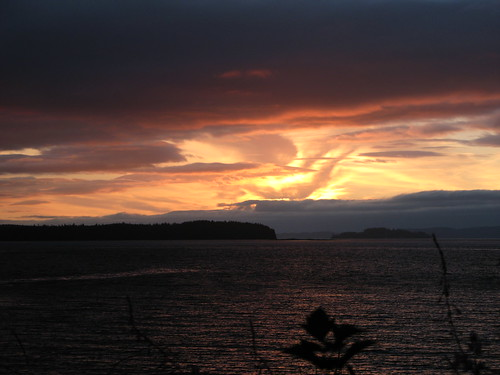 sunset sea clouds bay bc view vancouverisland campsite portmcneill alderbay