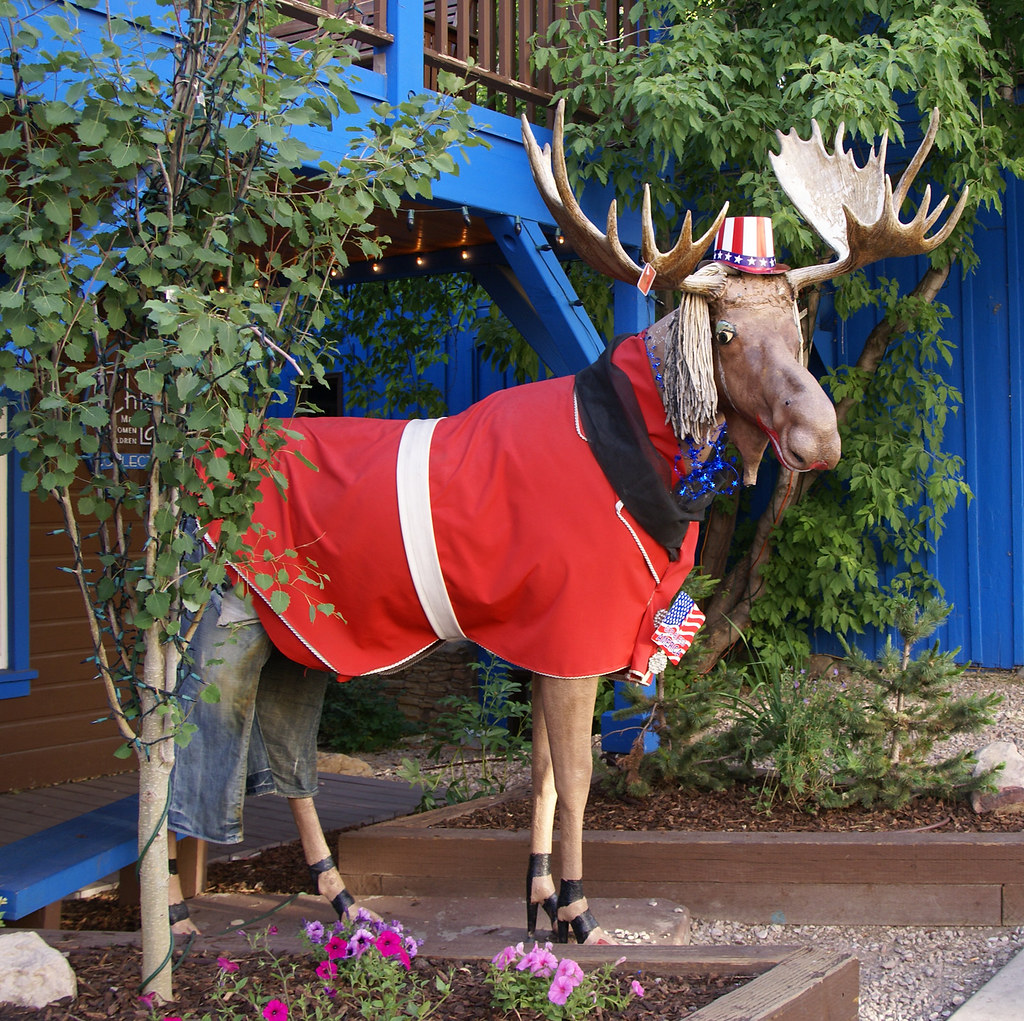 Park City Moose 02   Decorated statue of moose seen in ...