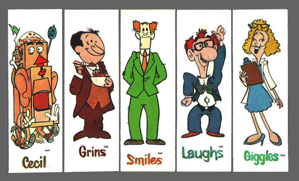 Grins & Smiles & Giggles & Laughs cereal - Magnet Premiums Full Set - 1970's
