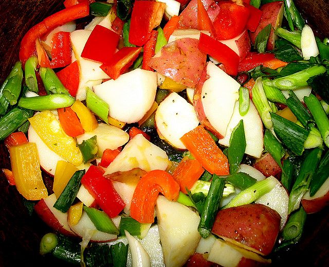Red Bliss potatoes, scallions, multicolored bell peppers all ready to ...
